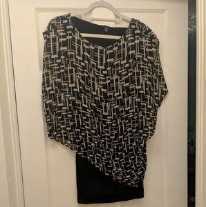 Black white and tan asymmetrical shirt
